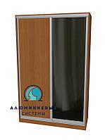 Алюминиевая система для сборки фасадов шкафов купе  Ручка А107. Габариты 2000(Ш) х 2200(В) ДСП+Зеркало