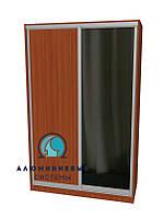 Алюминиевая система для сборки фасадов шкафов купе.  Ручка АА114. Габариты 1400(Ш) х 2200(В) ДСП+Зеркало