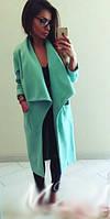 Стильное кашемировое женское пальто с отложным широким воротником карманы накладные
