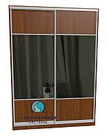 Раздвижная система шкафа купе с комбинированными фасадами. Ручка А119. Габариты 1800(Ш) х 2800(В) ДСП+Зеркало
