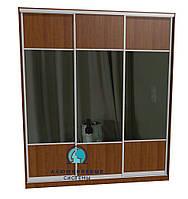 Раздвижная система шкафа купе с комбинированными фасадами. Ручка А119. Габариты 2400(Ш) х 2800(В) ДСП+Зеркало
