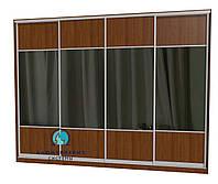 Раздвижная система шкафа купе с комбинированными фасадами. Ручка А119. Габариты 3600(Ш) х 2800(В) ДСП+Зеркало