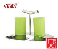 Набор для соли и перца с подставкой.Цвет APPLE.  BG-52   apple. Производитель Vesta.