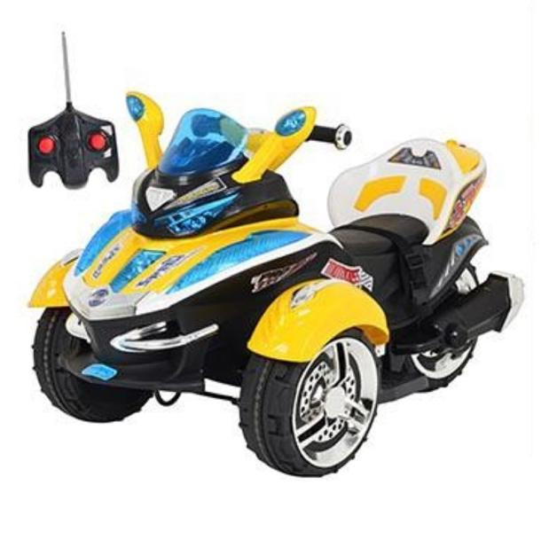 Детский Электромобиль трицикл Space 2222 желтый на радиоуправлении