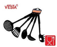 Набор кухонной утвари из 5-ти предметов.BG-85  black.Половник,шумовка,ложка поварская,лопатка с прорезями,карт