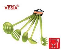 Набор кухонной утвари из 5-ти предметов.BG-85  green.Половник,шумовка,ложка поварская,лопатка с прорезями,карт