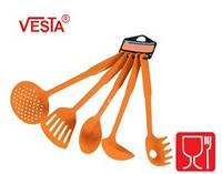 Набор кухонной утвари из 5-ти предметов.BG-85  orange.Половник,шумовка,ложка поварская,лопатка с прорезями,кар