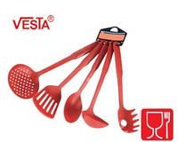 Набор кухонной утвари из 5-ти предметов.BG-85  red.Половник,шумовка,ложка поварская,лопатка с прорезями,картоф