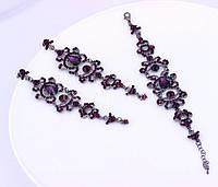 Серьги-люстры и браслет с фиолетовыми камнями для невесты