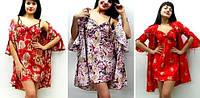 Комплекты: ночная сорочка и халатик шелк с рюшами, только оптом. Цвета и размеры микс. Только опт.