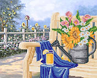 """Рисунок на ткани для вышивания бисером """"Дачная скамейка"""""""