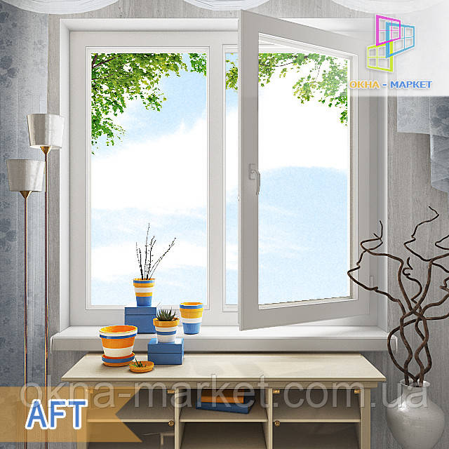 Дешевые двустворчатые окна в профильной системе AFT компания