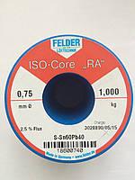 Припой в проволоке 0,75мм с флюсом ПОС61 (Sn60Pb40) Felder