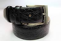 Ремень кожаный 'VipMan' черный с полосками