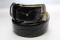 Ремень кожаный 'VipMan' черный лаковый с крупным узором