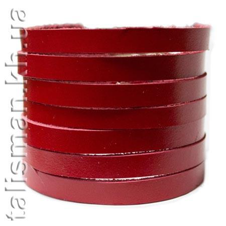 Браслет кожаный BKB-001 резаный красный