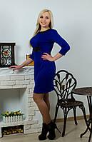 Платье с кожей электрик