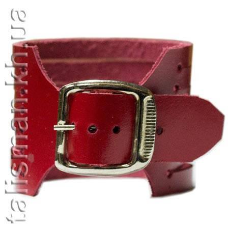 Браслет кожаный BKB-001 резаный красный, фото 2