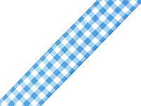 Лента клетчатая голубая 25 мм