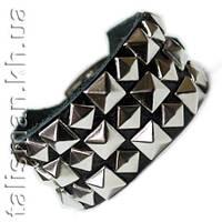 """Браслет кожаный - BKB-015 - """"шахматка"""" пирамидка 3 ряда"""