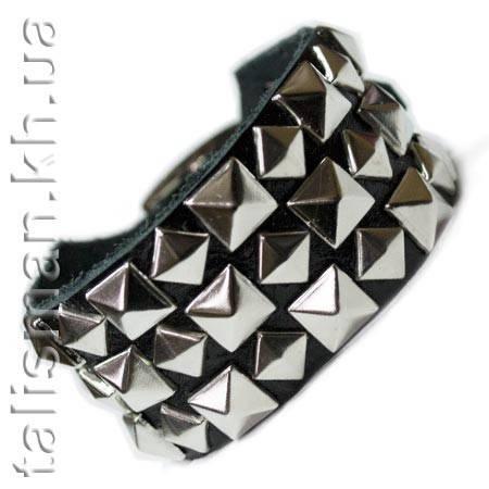Браслет кожаный BKB-015 шахматка пирамидки 3 ряда, фото 2