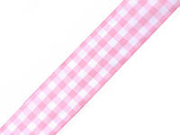 Лента клетчатая розовая 25 мм