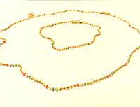 Набор ХР цепочка+браслет разноцветные шарики эмаль, позолота