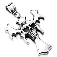 Кулон из нержавеющей стали вампирский крест с черепом Spikes