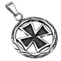 Кулон железный крест из нержавеющей стали Spikes