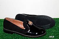 Женские туфли открытые ,черные,глянцевый носок