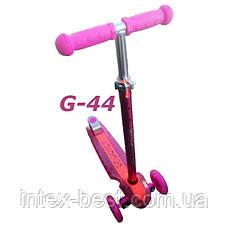 Самокат G-44 металлик trolo maxi new micro scooter светящаяся платформа с наклоном руля, фото 3