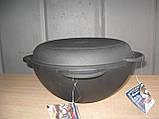 Объем 8 литров. Казан чугунный, азиатский с чугунной крышкой-сковородой., фото 3