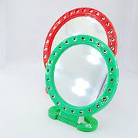 Зеркало настольное косметическое пластмассовое с камнями оптом.