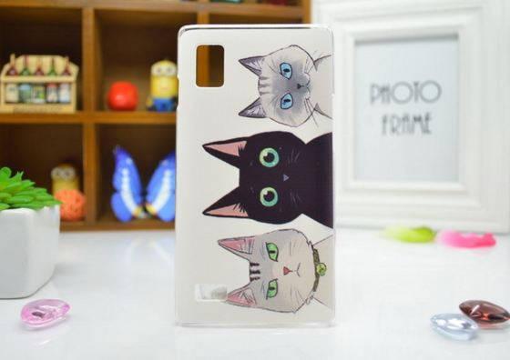 Чехол для LG Optimus L9/p760/p765 панель накладка с рисунком три кота, фото 2