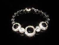 Браслет черные кристаллы и сияющие камни, фото 1
