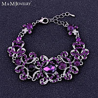 Браслет для невесты с фиолетовыми камнями