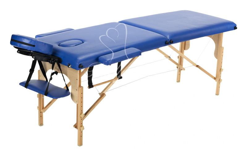 Массажный стол деревянный двухсегментный Body Fit (Синий)