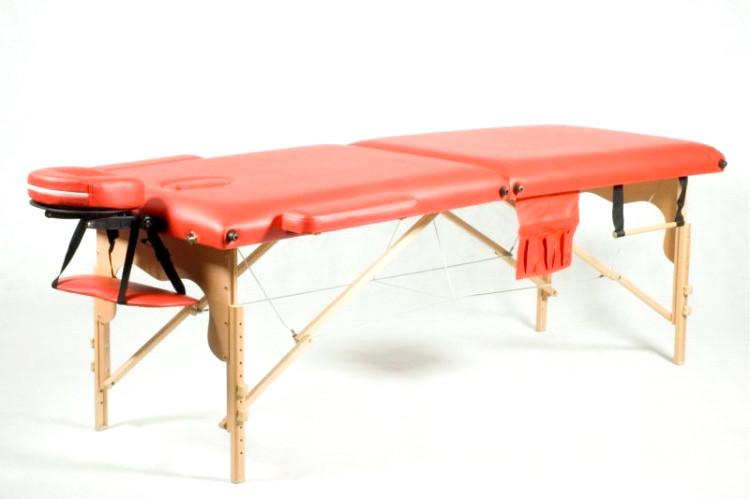 Массажный стол деревянный двухсегментный Body Fit (Красный)
