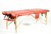 Массажный стол деревянный двухсегментный Body Fit (Красный), фото 1