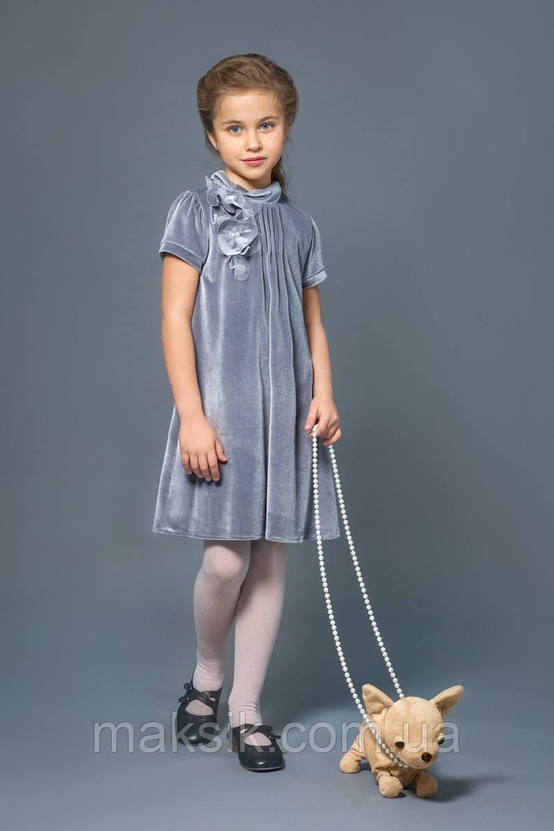Нарядное бархатное платье серое р.110-128см
