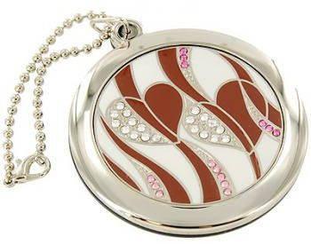 Романтичное карманное зеркальце Сердца на цепочке  Jardin D'ete 98-0784, серебристый