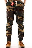 Брюки камуфляжные мужские YSTB Woodland camo, карго зауженные с карманами  (с манжетами,брюки-карго, Cargo)