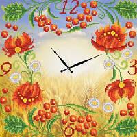 """Рисунок на ткани для вышивания бисером """"Часы. Персиковая роспись"""""""
