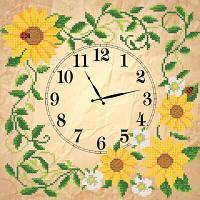 """Рисунок на ткани для вышивания бисером """"Часы. Солнечные цветы"""""""
