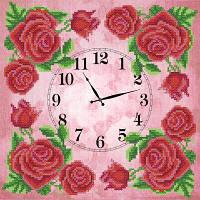 """Рисунок на ткани для вышивания бисером """"Часы. Королевская роза"""""""