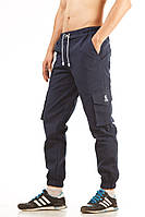 Штаны с манжетами мужские летние карго Ястребь Navy Blue синий, зауженные с карманами (с манжетами, Cargo), фото 1