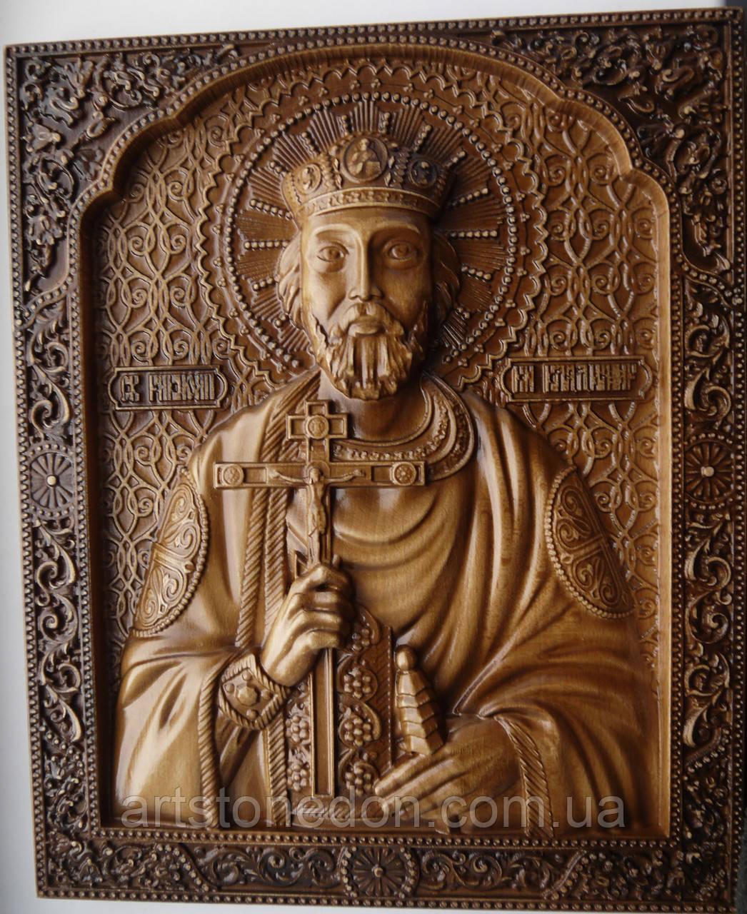 Резные иконы из дерева. Икона Святого князя Владимира 34*28*3 см