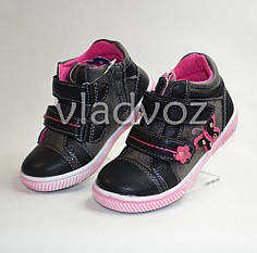 Детские демисезонные кроссовки ботинки для девочки чёрный 26р 16,5см