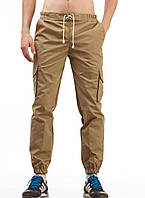 Мужские штаны карго Ястребь Khaki Песок, зауженные с карманами (брюки-карго, Cargo)
