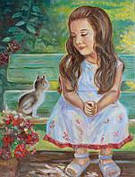 """Картина маслом """"девочка и кот"""""""